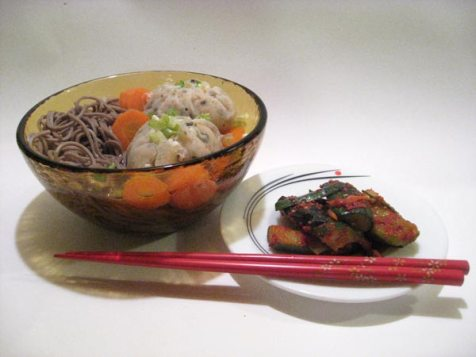 Shrimp umplings and Japanese Noodles