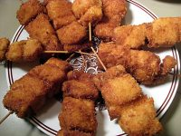 Japanese deep-fried pork and onion skewers