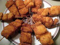 Japanese deep-fried pork and onion skewers