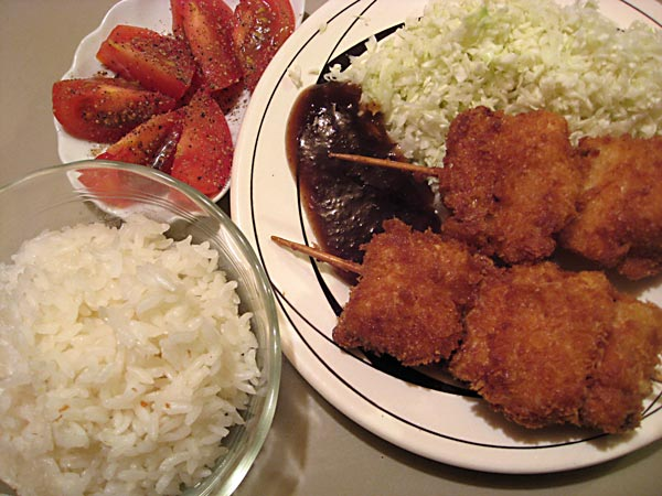 deep-fried pork and onions on skewers