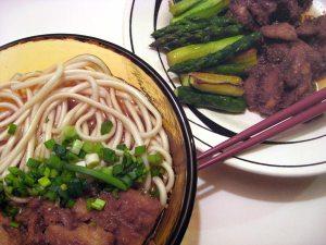 udon, chicken, vegetables