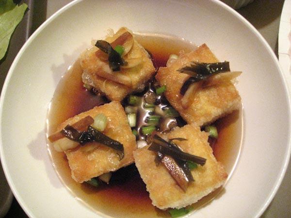 crisp tofu with garlic tsukemono