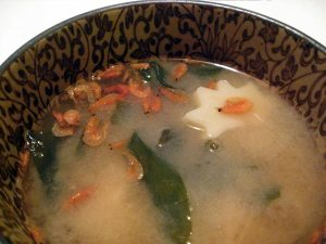 miso-soup with fu, wakame, and ebi