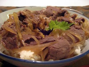 gyu donburi Japanese beef and rice
