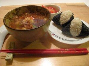 Onigiri and Japanese Chicken Soup