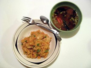 chikin raisu Japanese stir-fried rice and chicken