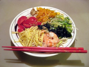 Hiyashi Chuka Soba with Shrimp