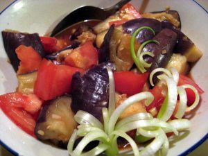 Japanese Eggplant and Tomato Salad with Curly Onion