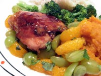 Orange Teriyaki Chicken with Mashed Sweet Potatoes