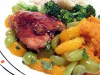 Orange Teriyaki Chicken with Mashed Sweet Potatoes