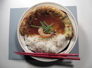 Japanese Shrimp Omelette Rice Bowl