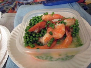 Shrimp and Peas, Microwaved