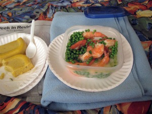 Shrimp, Peas, and Polenta