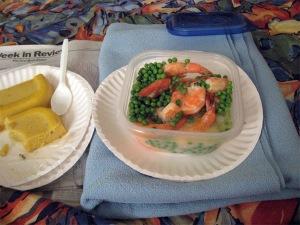 Shrimp, Peas, and Polenta