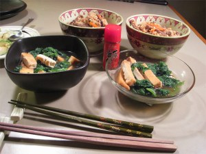 Greens simmered with tofu