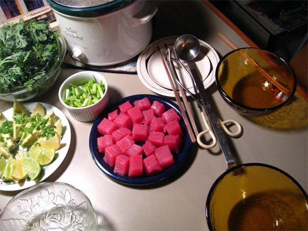 Tuna and Leek Hot Pot