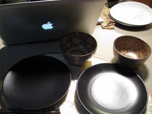 macbook pro with dinner