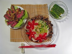 Chilled Somen with Mushrooms