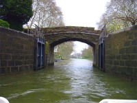 Inside the lock, gates still open