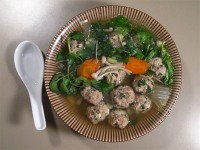Mung Bean Noodle Soup with Meatballs