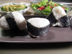 Onigiri on a plate
