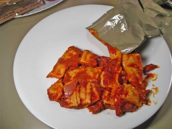 mre raviolli on a plate