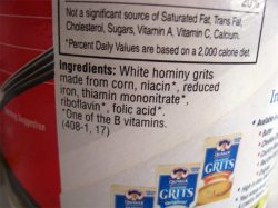 nutritional info about grits
