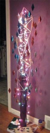 Christmas tree sculpture made with straws