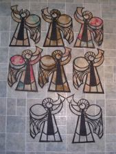 tissue paper stained glass angels with trumpets