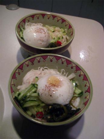 poached eggs on noodle soup