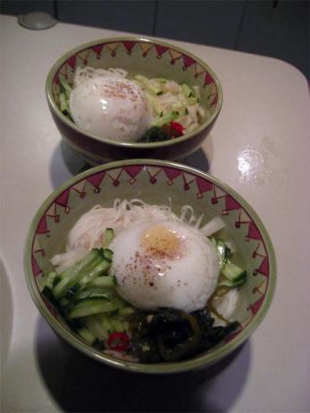 poached eggs on noodle soup