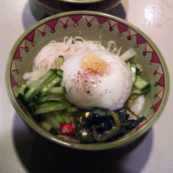 poached eggs on korean summer noodles