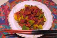 avocado, red pepper, peach, mango, and bacon donburi
