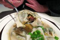 eating lamb wontons