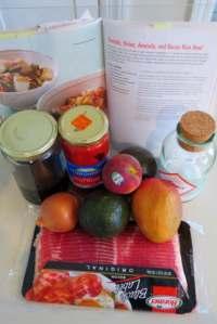 ingredients for bacon pepper avocado donburi