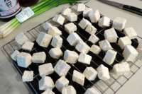 tofu dusted with corn starch for frying